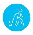Man with suitcase line icon vector image vector image