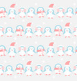 many penguins in winter pattern vector image