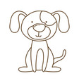 monochrome thin contour of dog sitting vector image vector image