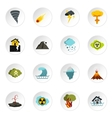 Natural disaster icons set flat style vector image vector image
