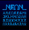 one thin line neon tube font vector image