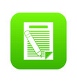 paper and pencil icon digital green vector image vector image