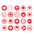red canada flag and maple leaf circle emblem set vector image