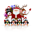 Santa Claus penguins reindeer and snowman vector image vector image