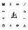 set of 12 editable fitness icons includes symbols vector image