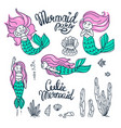 set of beautiful mermaids with pink hair vector image