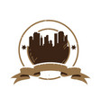 silhouette city for retro vintage badge emblem vector image vector image
