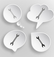 Spanner White flat buttons on gray background vector image vector image