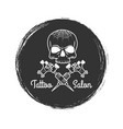 tattoo salon grunge emblem with skull vector image vector image