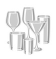 types of bar glasses set of alcohol glassware vector image vector image