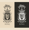 vintage coat arms with crown and letter k vector image