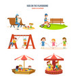 walking with the children in fresh air cycling vector image vector image