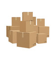 warehouse boxed cardboard parcel packages piles vector image