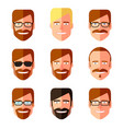 set of men s faces with different haircuts vector image