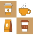 Coffee Time Line Art Thin Icons Set vector image