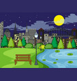 a park scene at night vector image vector image