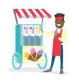 african-american street seller selling ice cream vector image
