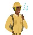 african traveler listening to music in headphones vector image vector image