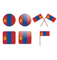 badges with flag of Mongolia vector image vector image