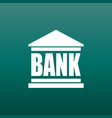 bank building icon in flat style on green vector image vector image