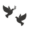 black silhouette flying dove with olive twig vector image vector image