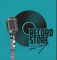 black vinyl record store day flat concept vector image vector image