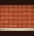 blank red brick wall indoors with wooden floor vector image