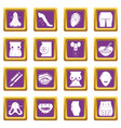 body parts icons set purple square vector image vector image