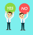 businessman holding yes or no sign vector image