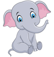 Cartoon funny baby elephant sitting isolated vector image vector image