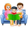 cartoon happy family reading a book vector image vector image