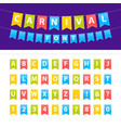 cartoon uppercase abc font set on party flags vector image