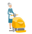 caucasian worker cleaning store floor with machine vector image vector image