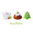 christmas pudding gingerbread cookie and tea icon vector image vector image