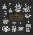 coffee sketch set coffee cups and beans vector image