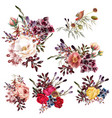 collection high detailed flowers realistic style vector image vector image