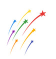 colored soaring fireworks stars plumes vector image vector image