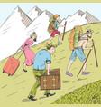 comic strip tired travelers climb a mountain vector image