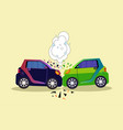 crashed cars scene isolated accident on road vector image