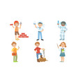 cute boys and girls various professions set vector image vector image