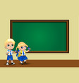 cute cartoon school girl and boy in uniform with vector image vector image
