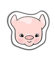 cute pink piglet smiling head sticker vector image