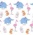 cute seamless pattern colorful animals vector image
