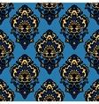 Damask blue flower seamless patter vector image vector image