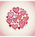Decorative circle made of watercolor hearts vector image vector image