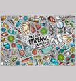 doodle cartoon set epidemic theme objects vector image vector image