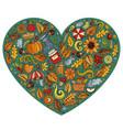 doodle cartoon set of autumn objects symbols vector image