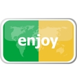 Enjoy Flat web button icon World map earth icon vector image