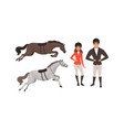 equestrian sport set man and woman professional vector image