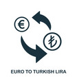euro to turkish lira icon mobile app printing vector image vector image